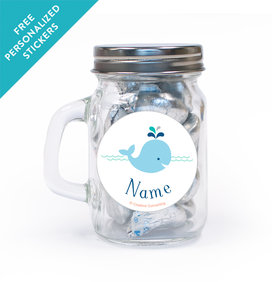 Little Spout Blue Personalized Mini Mason Jar 12 Pack