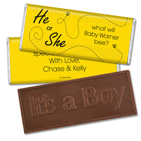 Gender Reveal Baby Shower Embossed It's a Boy Chocolate Bar Bumble Bee