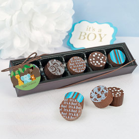 Personalized Baby Shower Jungle Animals Gourmet Chocolate Truffle Gift Box (5 Truffles)