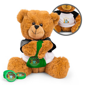 Personalized Baby Shower Jungle Buddies Teddy Bear with Chocolate Coins in XS Organza Bag