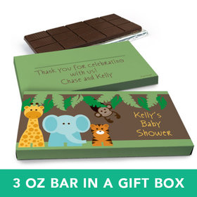 Deluxe Personalized Baby Shower Jungle Friends Belgian Chocolate Bar in Gift Box (3oz Bar)