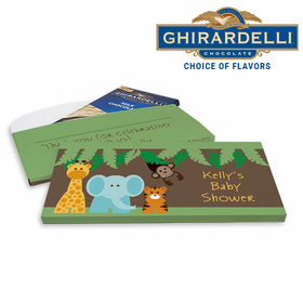 Deluxe Personalized Baby Shower Jungle Buddies Ghirardelli Chocolate Bar in Gift Box