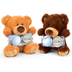 Personalized Baby Shower Little Man Teddy Bear with Chocolate Covered Oreo 2pk