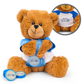 Personalized Baby Shower Little Man Teddy Bear with Chocolate Coins in XS Organza Bag