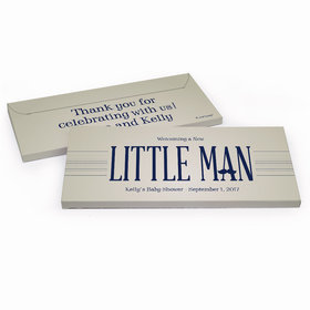 Deluxe Personalized Baby Shower Little Man Chocolate Bar in Gift Box