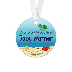 Personalized Round Ocean Bubbles Baby Shower Favor Gift Tags (20 Pack)