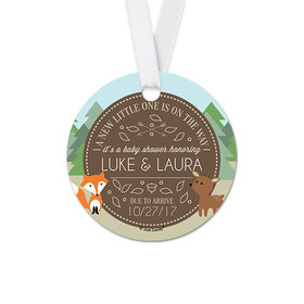 Personalized Round Forest Animals Baby Shower Favor Gift Tags (20 Pack)
