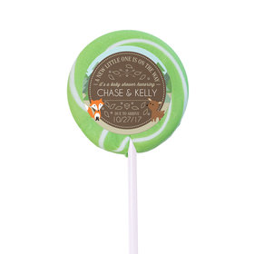 Baby Shower Personalized Small Swirly Pop Forest Animals (24 Pack)