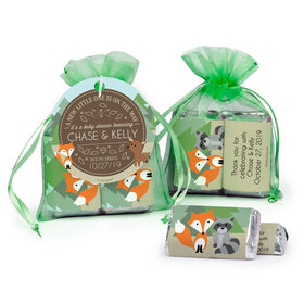 Personalized Baby Shower Forest Friends Hershey's Miniatures in Organza Bags with Gift Tag