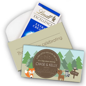 Deluxe Personalized Baby Shower Forest Friends Lindt Chocolate Bar in Gift Box (3.5oz)