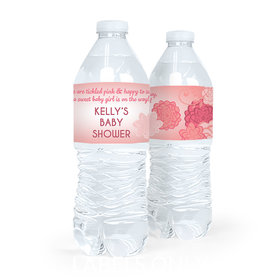 Personalized Baby Shower Pink Flowers Water Bottle Sticker Labels (5 Labels)
