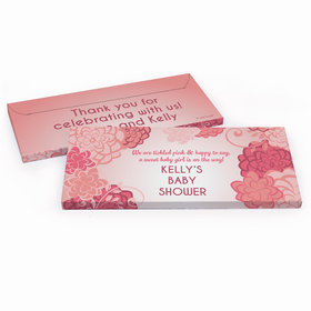 Deluxe Personalized Baby Shower Pink Flowers Chocolate Bar in Gift Box