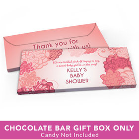 Deluxe Personalized Baby Shower Pink Flowers Candy Bar Cover