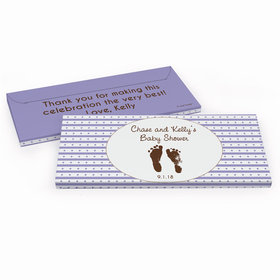 Deluxe Personalized Baby Shower Footprints Chocolate Bar in Gift Box