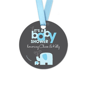 Personalized Round Baby Elephant Baby Shower Favor Gift Tags (20 Pack)