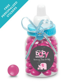 Baby Shower Personalized Blue Baby Bottle Elephant (24 Pack)