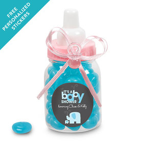 Baby Shower Personalized Pink Baby Bottle Elephant (24 Pack)