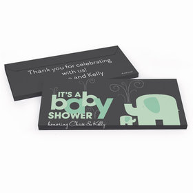 Deluxe Personalized Baby Shower Elephant Chocolate Bar in Gift Box