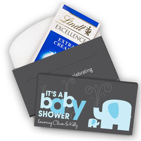 Deluxe Personalized Baby Shower Elephants Lindt Chocolate Bar in Gift Box (3.5oz)