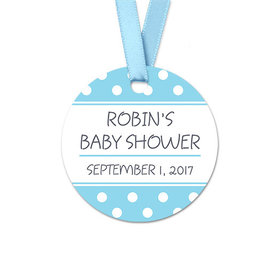 Personalized Round Polka Dots Baby Shower Favor Gift Tags (20 Pack)