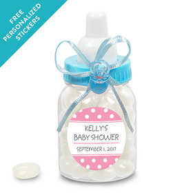 Baby Shower Personalized Blue Baby Bottle Polka Dot (24 Pack)