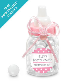 Baby Shower Personalized Pink Baby Bottle Polka Dot (24 Pack)