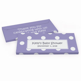 Deluxe Personalized Baby Shower Polka Dots Chocolate Bar in Gift Box