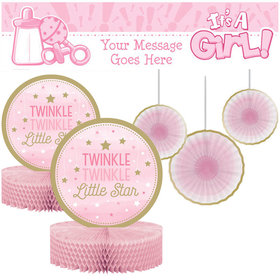 Baby Shower Decorating Kit - Twinkle Pink