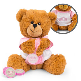 Personalized Baby Shower Little Lady Teddy Bear with Chocolate Coins in XS Organza Bag