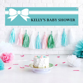 Personalized Baby Shower Tiffany Themed Bow 5 Ft. Banner
