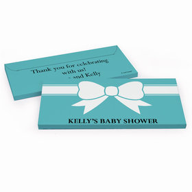 Deluxe Personalized Baby Shower Tiffany Bow Theme Chocolate Bar in Gift Box