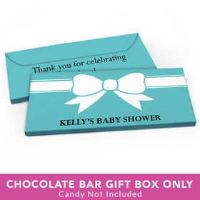 Deluxe Personalized Baby Shower Tiffany Bow Theme Candy Bar Favor Box