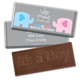 Gender Reveal Baby Shower Baby Elephants Embossed It's a Boy Chocolate Bar