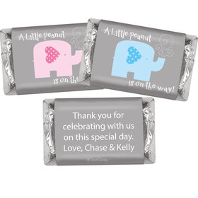 Gender Reveal Baby Shower Baby Elephants Personalized Hershey's Miniatures Wrappers