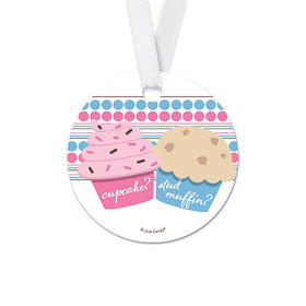 Personalized Round Cupcakes Baby Shower Favor Gift Tags (20 Pack)