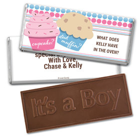 Gender Reveal Baby Shower Cupcakes Embossed It's a Boy Chocolate Bar