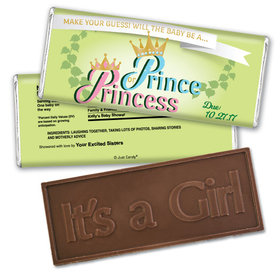 Gender Reveal Baby Shower Embossed It's a Girl Chocolate Bar Prince or Princess