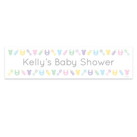 Personalized Bibs, Bottles & Rattles Baby Shower Banner