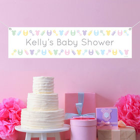 Personalized Bibs, Bottles & Rattles Baby Shower 5 Ft. Banner