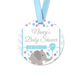 Personalized Round Chevron Elephant Baby Shower Favor Gift Tags (20 Pack)