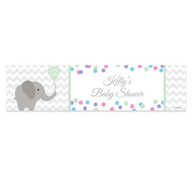 Personalized Baby Shower Chevron Elephant Banner
