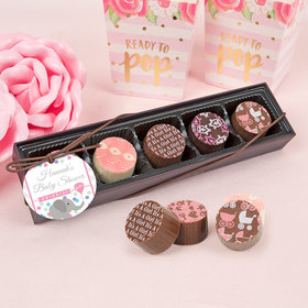 Personalized Baby Shower Girl Elephant Gourmet Chocolate Truffle Gift Box (5 Truffles)