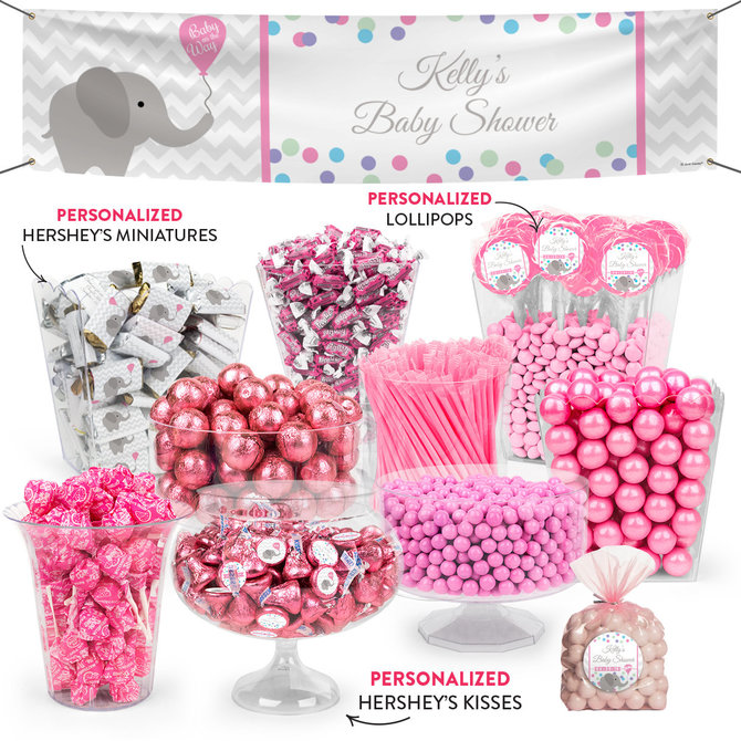 Personalized Baby Shower Pink Elephant Balloon Deluxe Candy Buffet