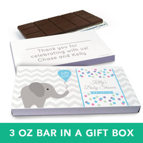 Deluxe Personalized Baby Shower Chevron Dots Elephant Belgian Chocolate Bar in Gift Box (3oz Bar)