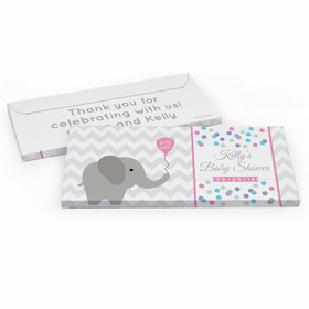 Deluxe Personalized Baby Shower Chevron Elephant Chocolate Bar in Gift Box