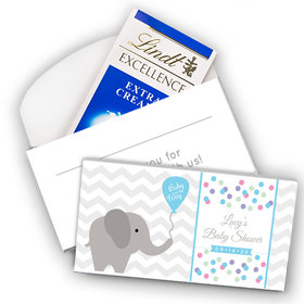 Deluxe Personalized Baby Shower Chevron Elephants Lindt Chocolate Bar in Gift Box (3.5oz)