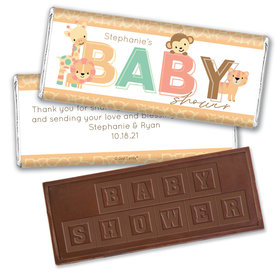 Baby Shower Personalized Embossed Chocolate Bar Safari Snuggles