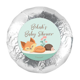 "Personalized Woodland Buddies Baby Shower 1.25"" Stickers (48 Stickers)"