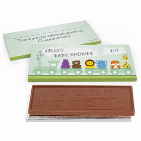 Deluxe Personalized Baby Shower Safari Animal Train Chocolate Bar in Gift Box