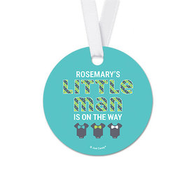 Personalized Round Little Man Baby Shower Favor Gift Tags (20 Pack)
